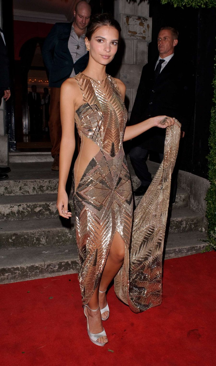 Emily Ratajkowski breathtaking in Gold Gown at Annabel's