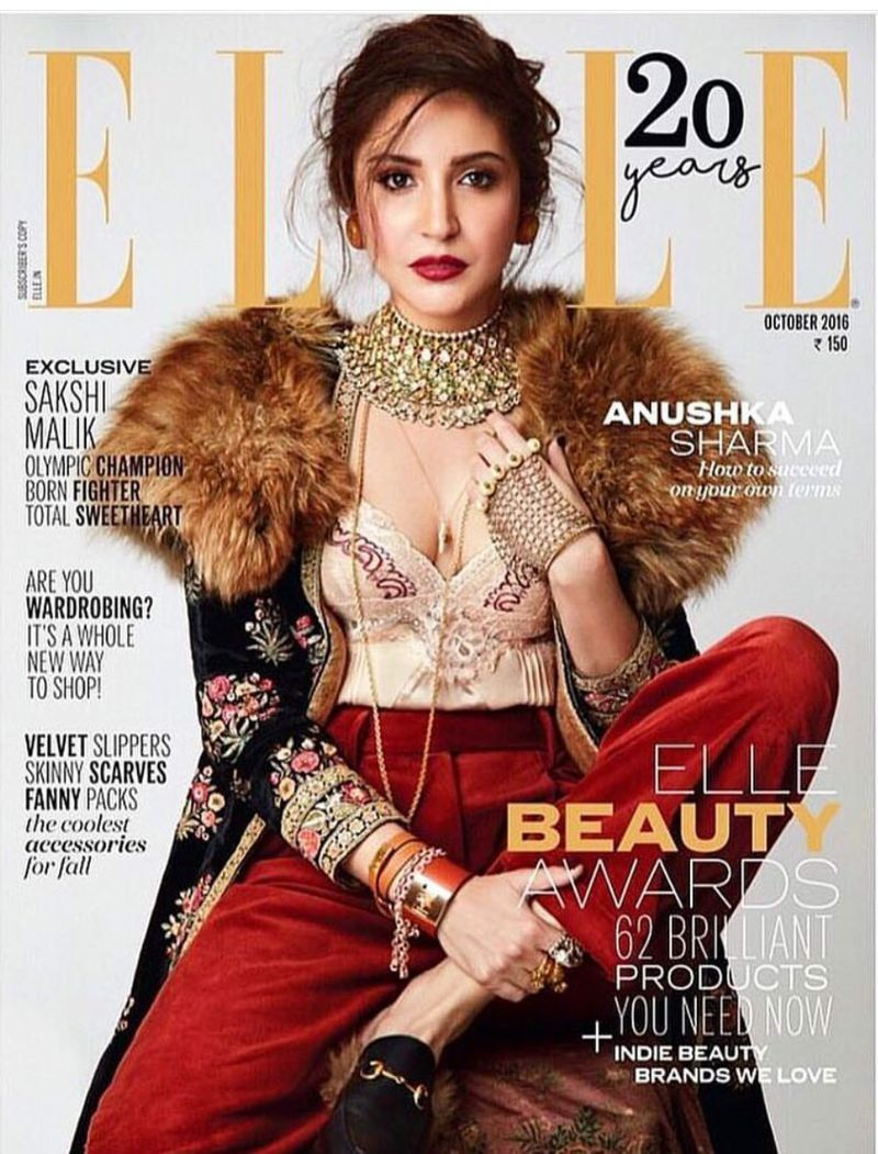 Anushka Sharma poses on Elle Magazine October 2016