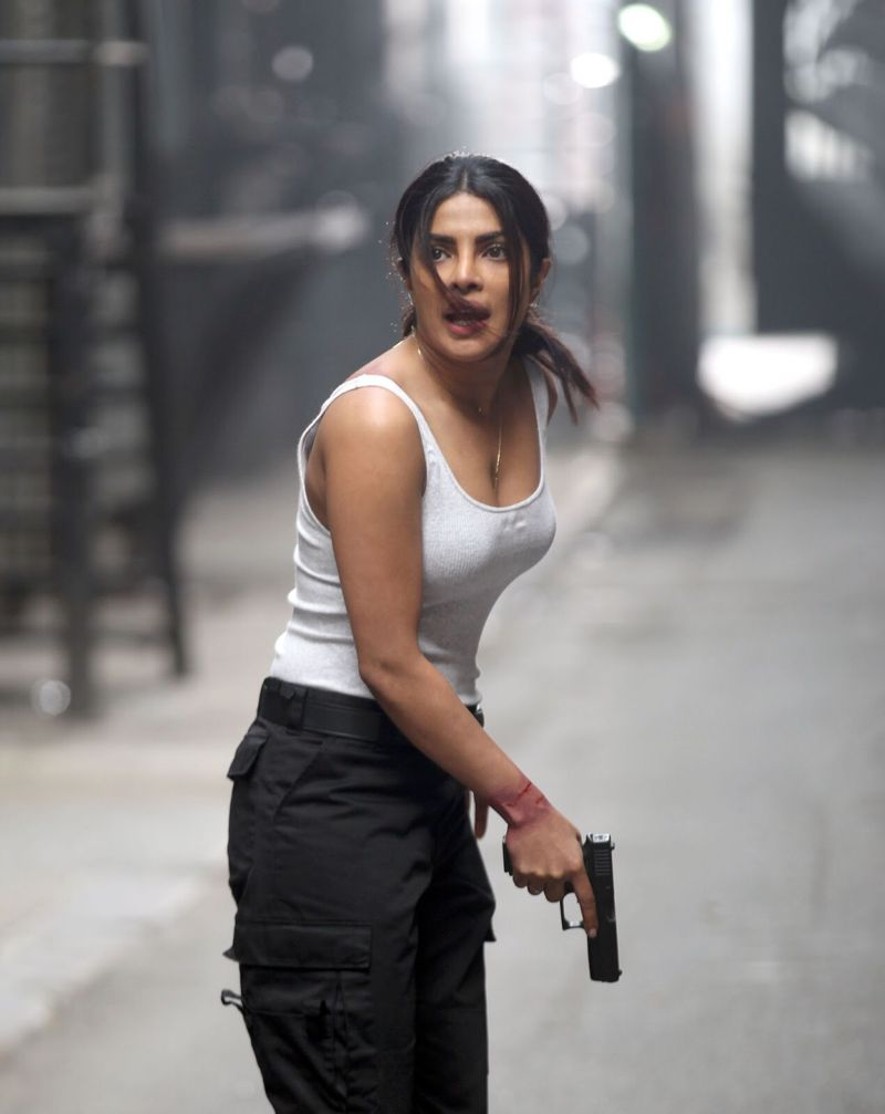 Priyanka Chopra in a White Sleevless Quantico 2 On The Set