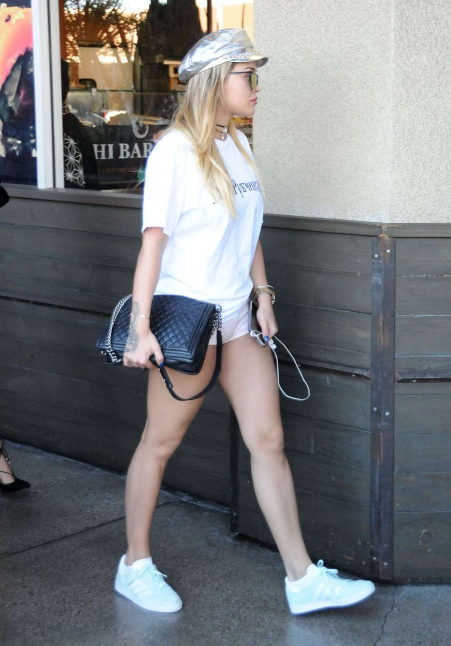 Rita Ora in White Shorts Out in Los Angeles