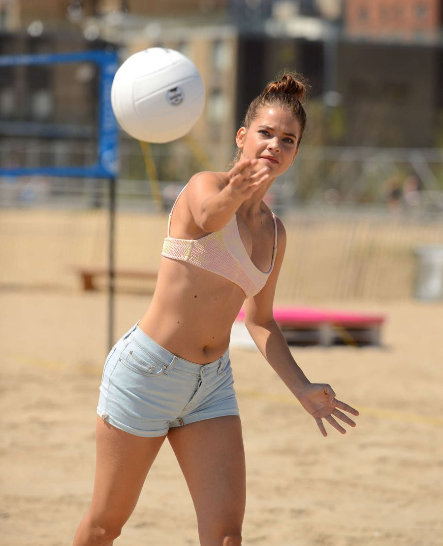 Barbara Palvin shows Volleyball Skills at Swim Festival
