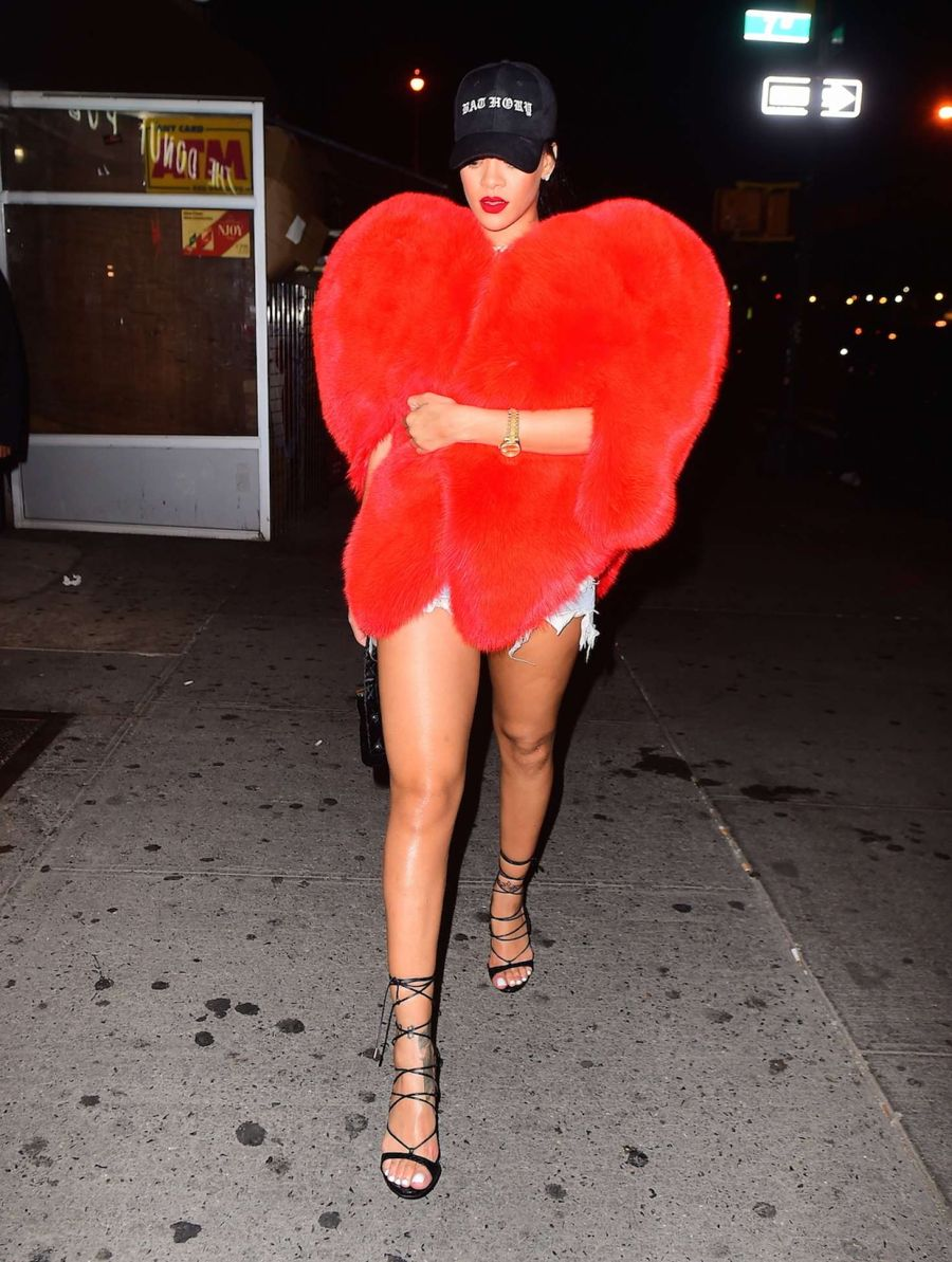 Rihanna Wears Giant Red Heart Fur Coat Out in NYC