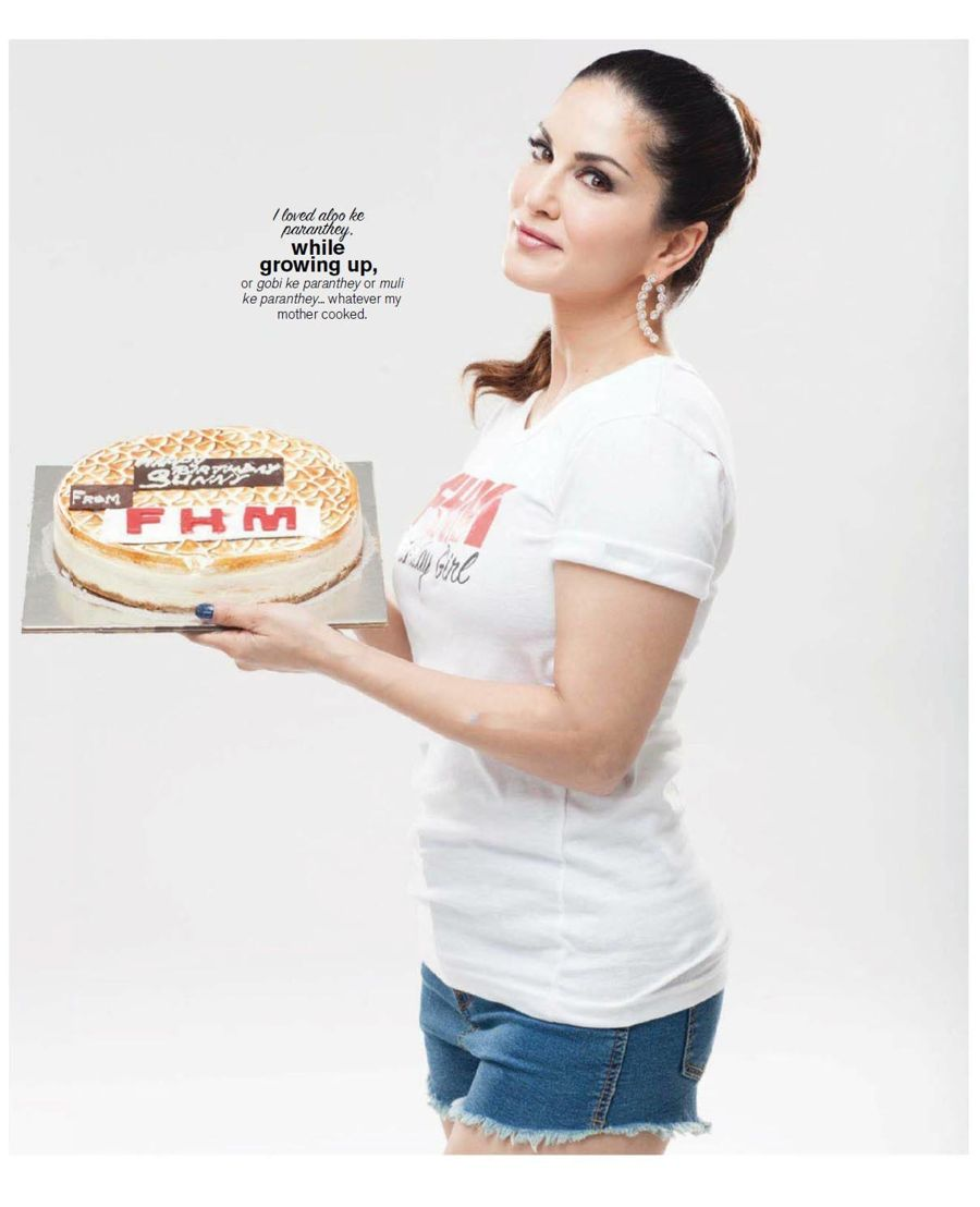 Sunny Shares her Birthday with FHM with a Cake