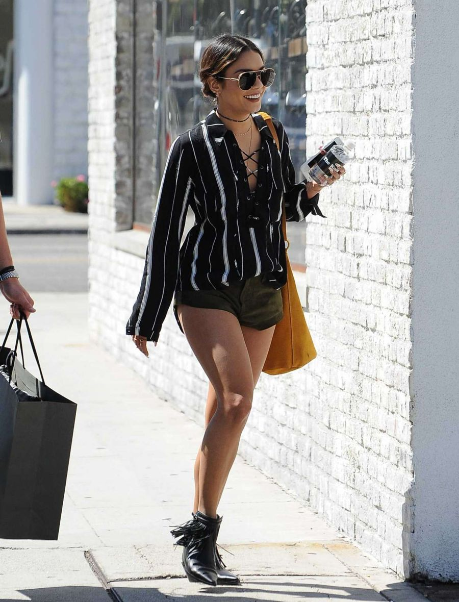 Vanessa Hudgens Grabs Grande Sized Iced Coffee in LA