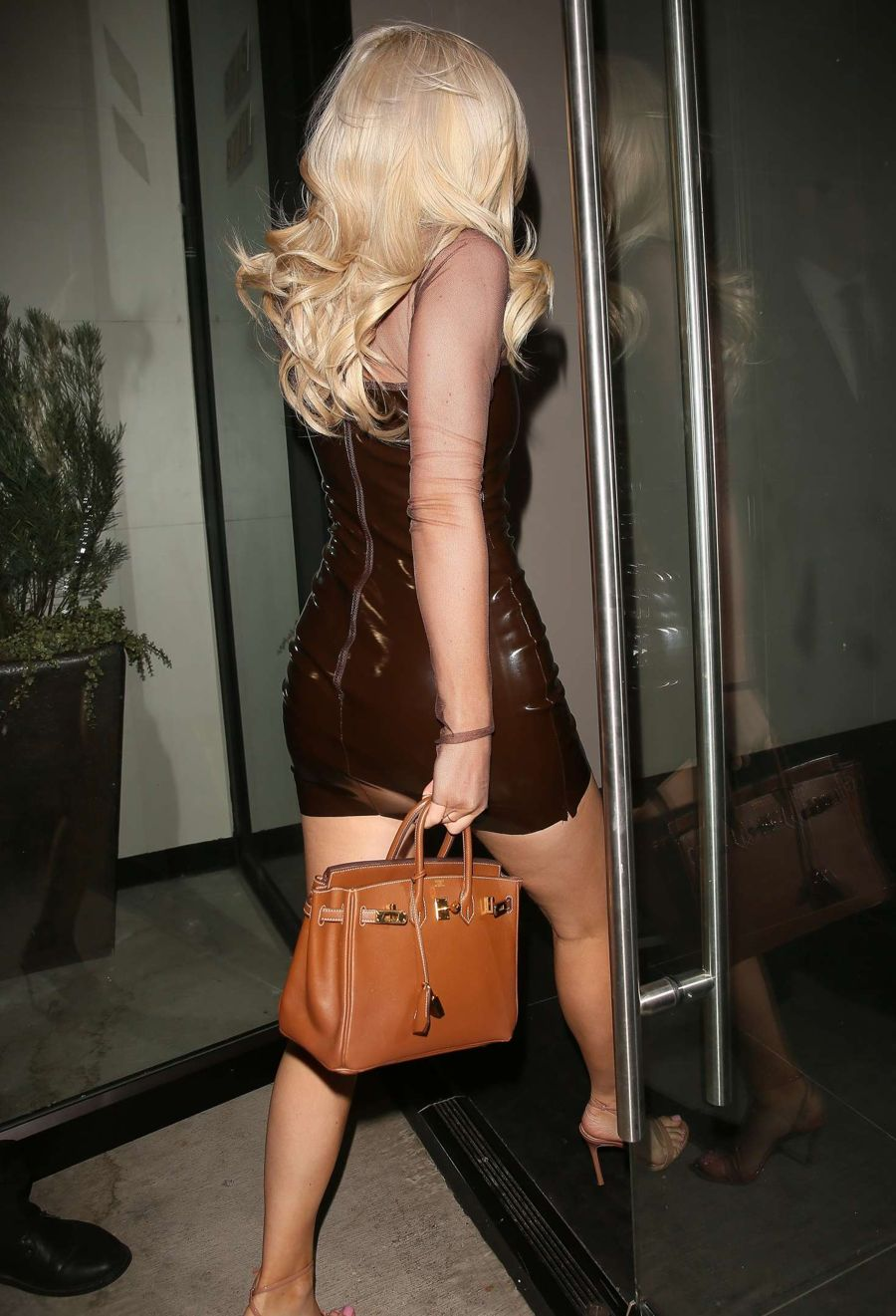 Kylie Jenner in Short Leather Dress at Catch Restaurant