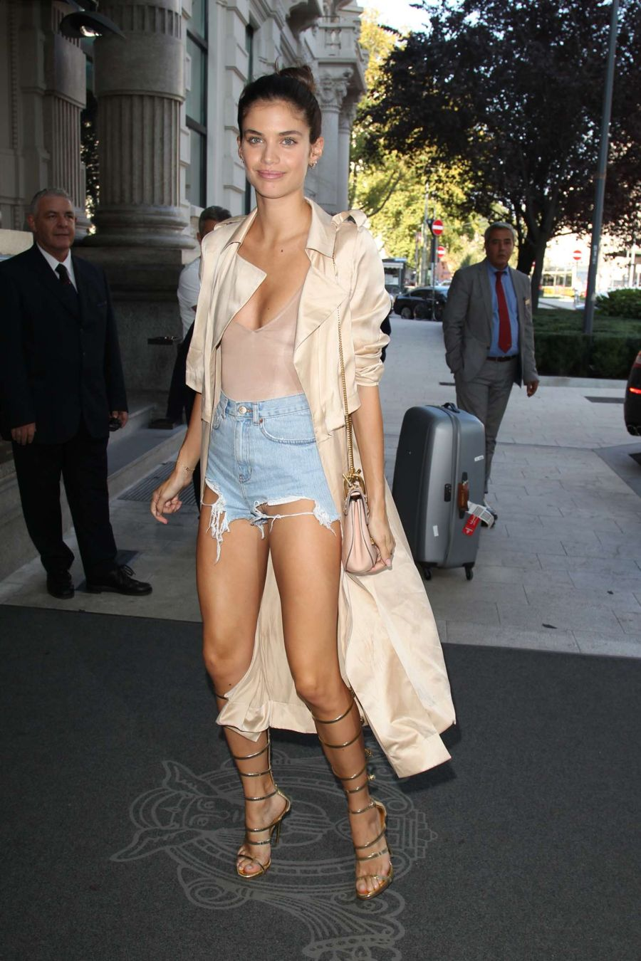 Sara Sampaio in Jeans Shorts Arrives at Hotel in Milan