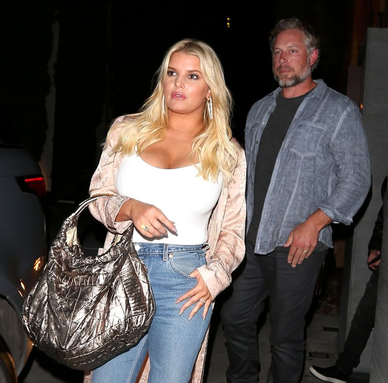 Jessica Simpson in form-fitting white top in West Hollywood