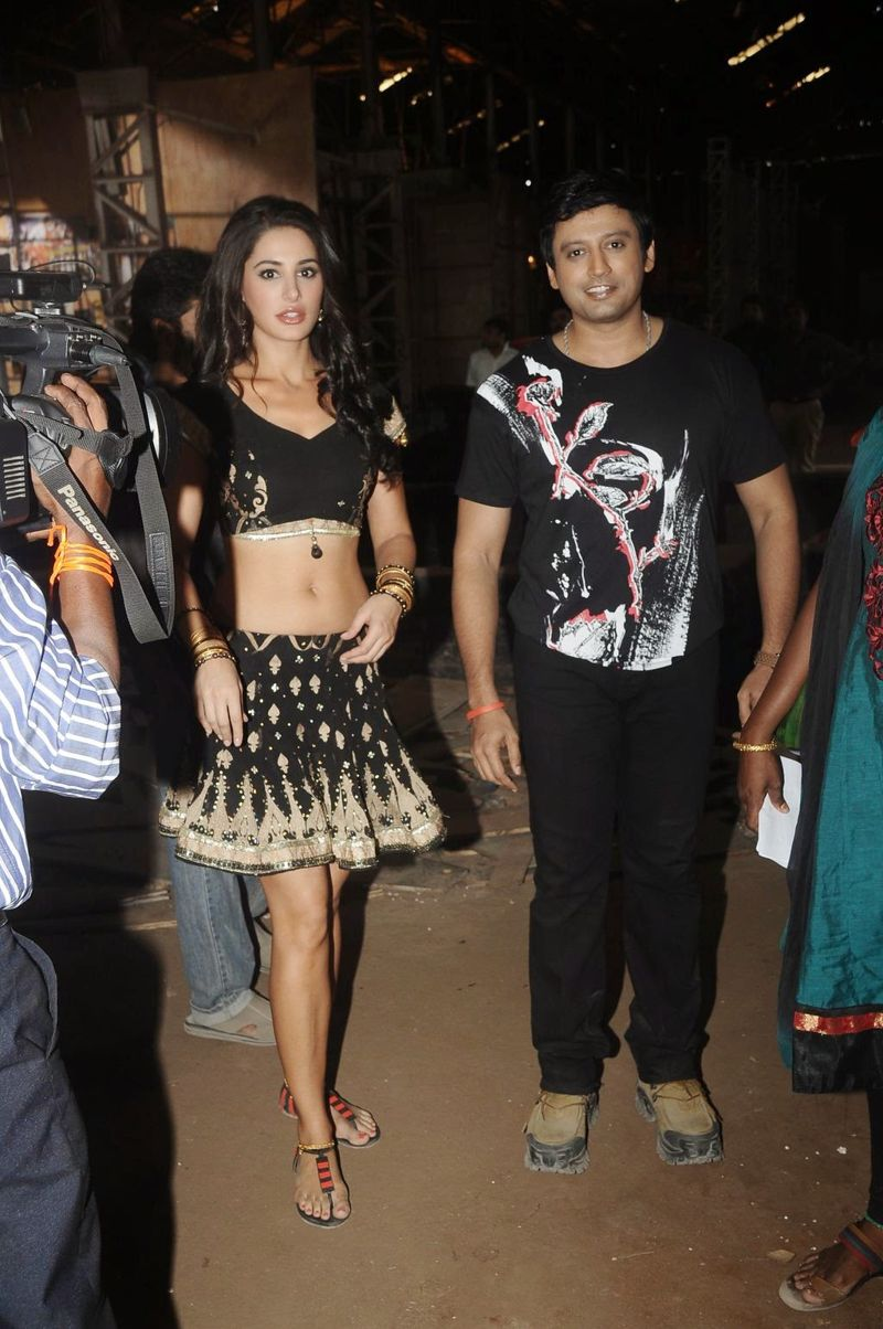 Nargis Fakhri in Black Choli at Saahasam Movie Press Meet