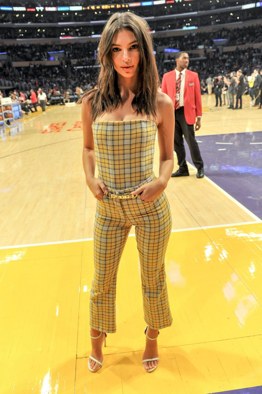 d7ee7cd6863 Emily Ratajkowski in strapless checked jumpsuit at LA