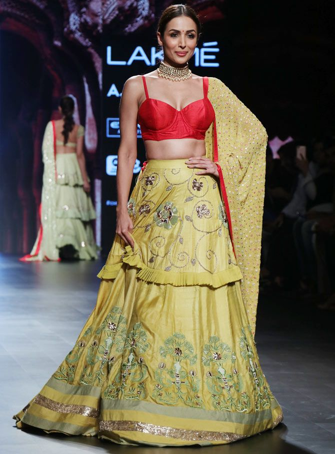 Malaika Arora walked the ramp for Divya Reddy