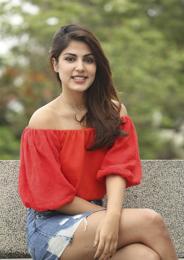 Rhea Chakraborty looks Fab in Red Top and Denim Shorts
