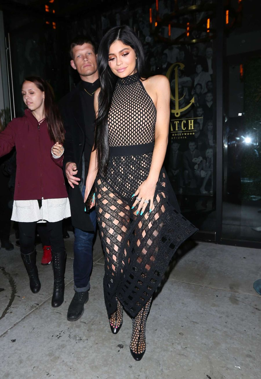 Kylie Jenner in Black Leaving Catch LA in West Hollywood