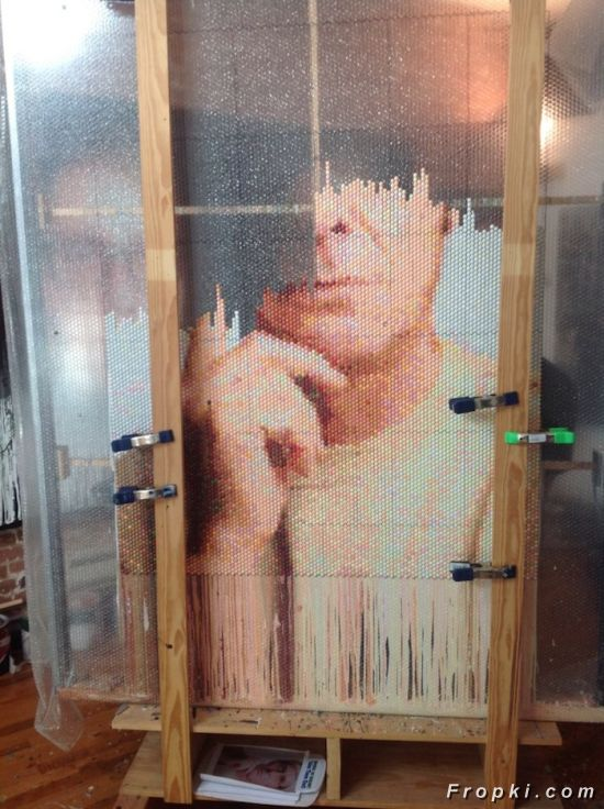 Portraits Made By Injecting Bubble Wrap With Paint