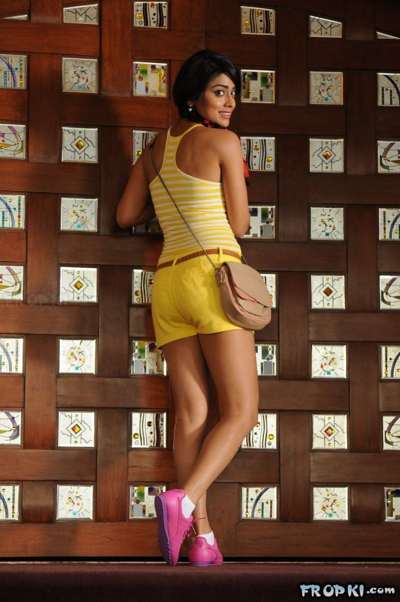 Shriya Saran in a Yellow Shorts & Sleevless Top