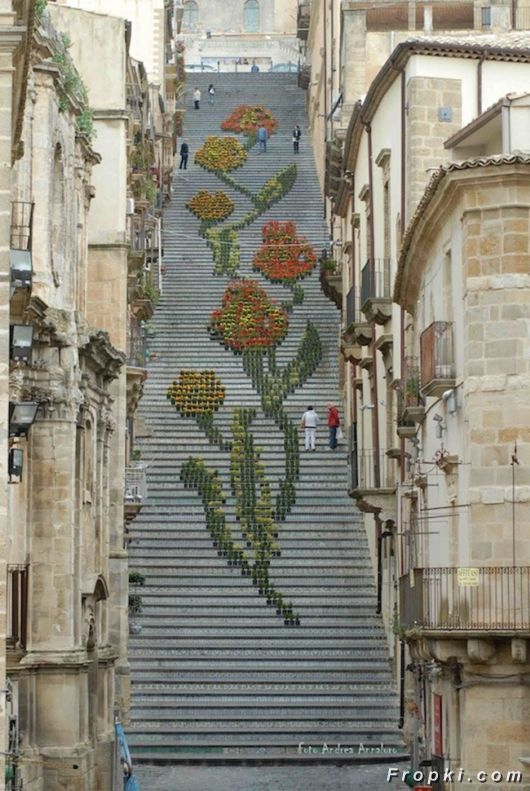 A Grand Flowers Design On A Staircase