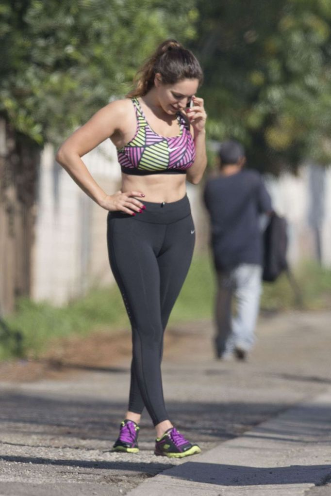 Kelly Brook in Tights and Sport Bra