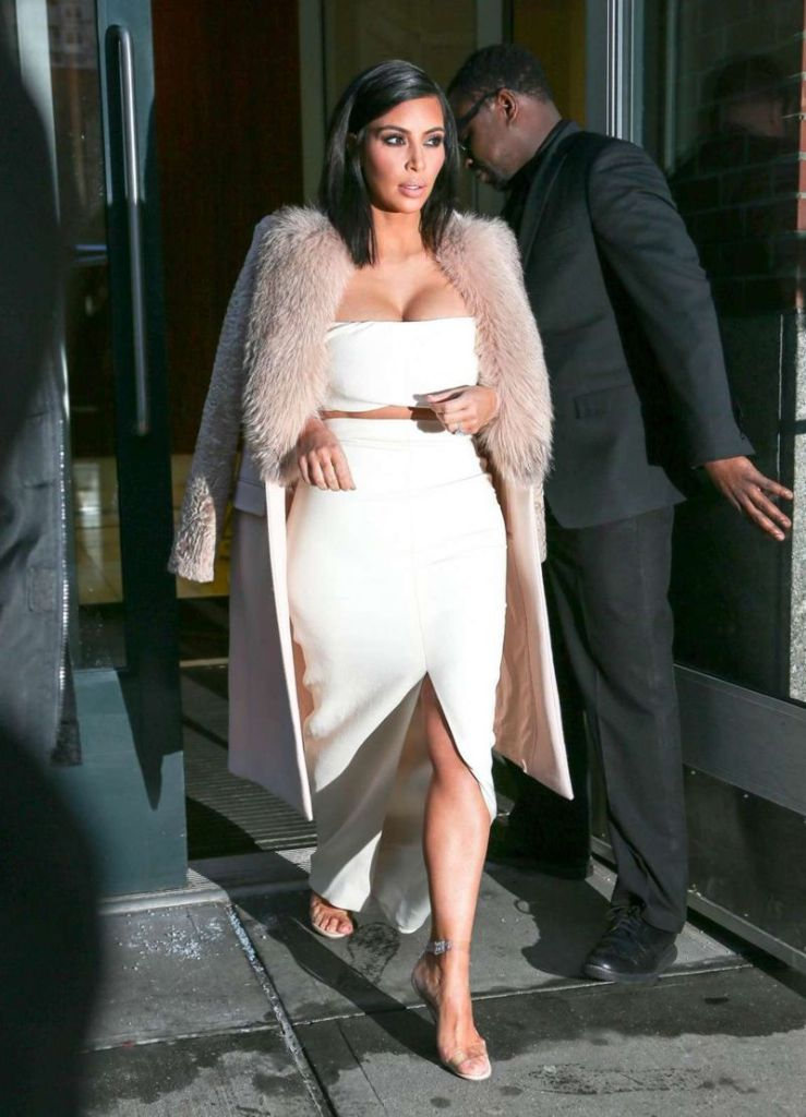 Kim Kardashian sports white ensembles at NY