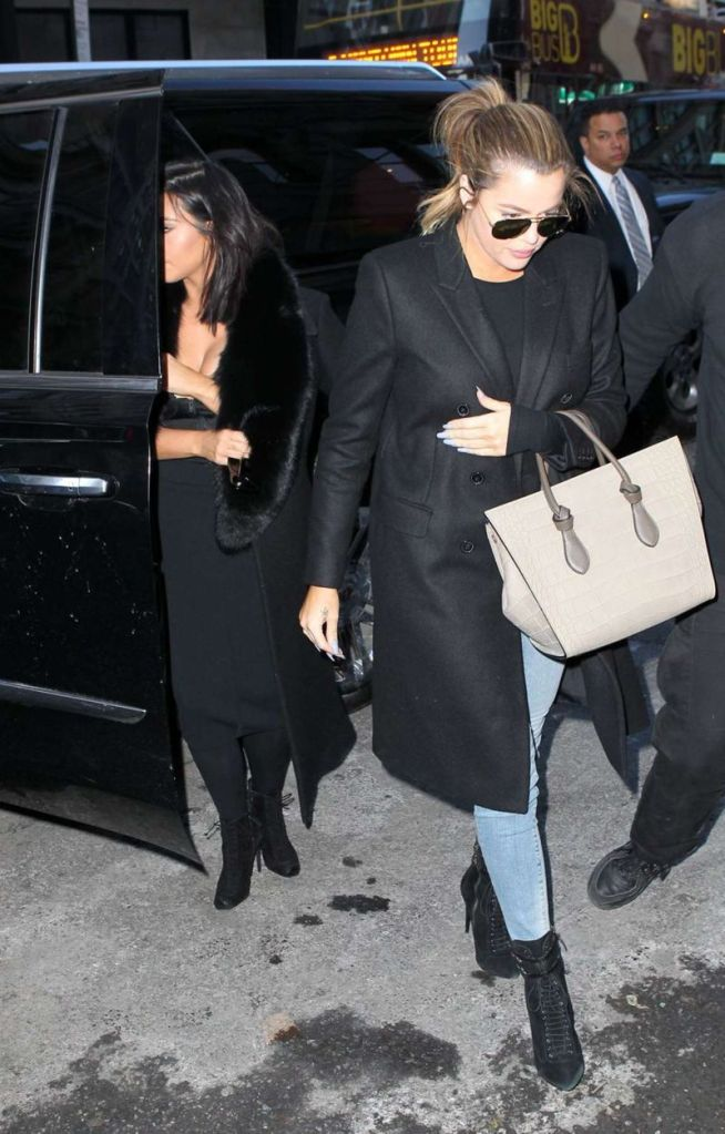 Kim Kardashian in Black Dress out in New York City