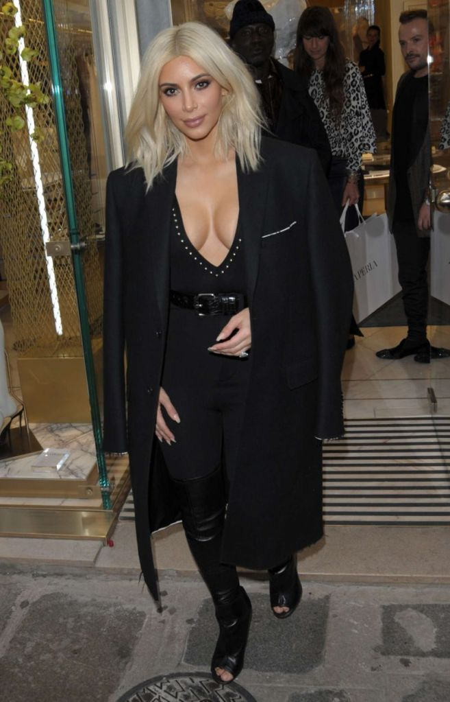 Kim Kardashian: Plunging Jumpsuit in Paris Fashion Week