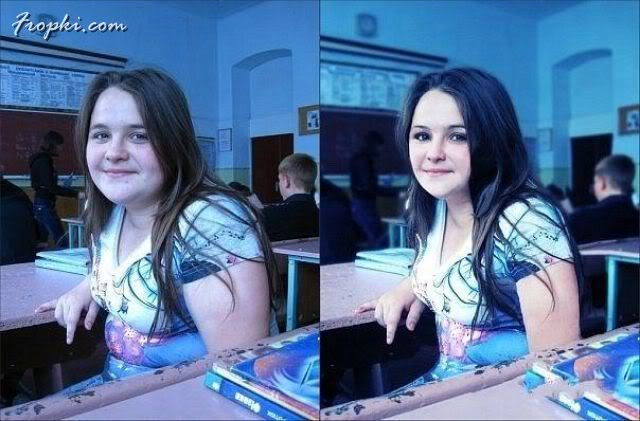 Girls' Photographs, Before and After Photoshop
