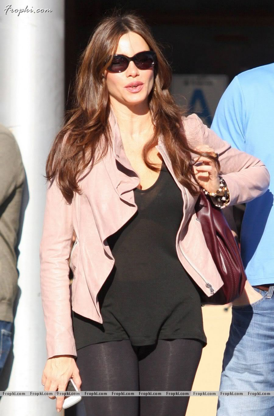 Sofia Vergara in See-Thru Shirt and Slacks