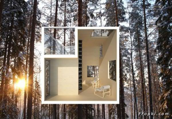 Almost Invisible Mirrored Tree House