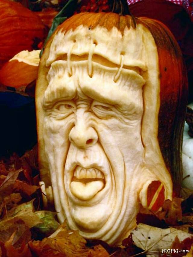 Funny Caricatures carved out of pumpkins