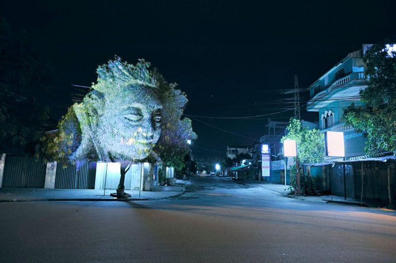 Haunting 3D Images Projected Onto Trees