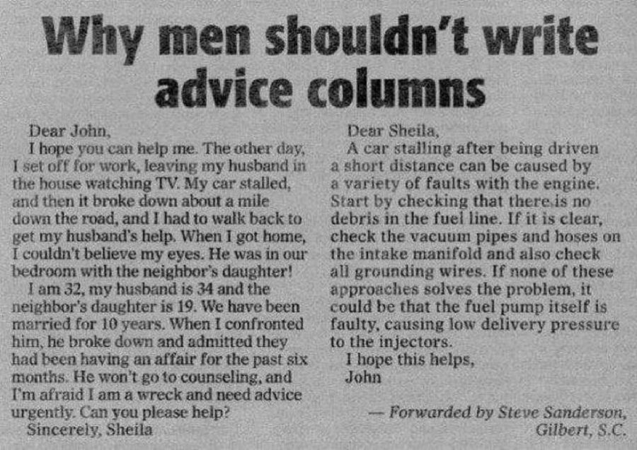 Why Men should not advice