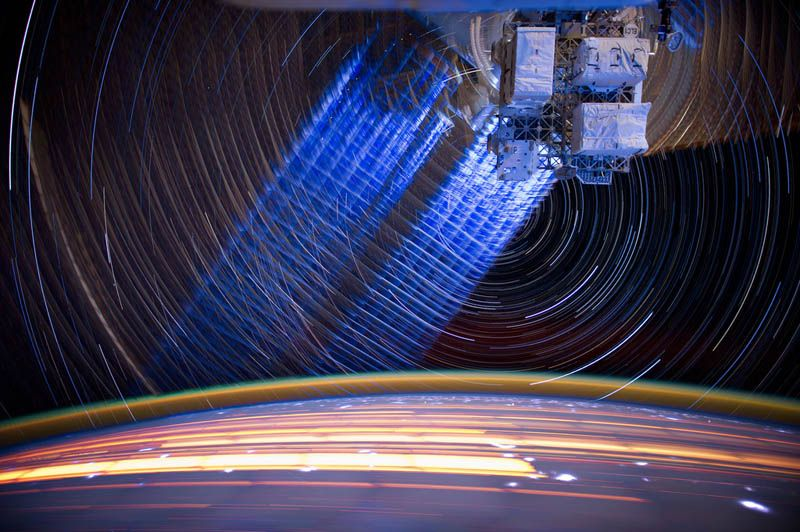 Star Trails Captured from Space On-Board ISS