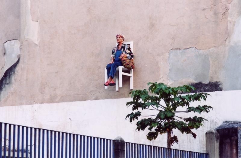Elderly People Suspended High Above Streets of Montreal