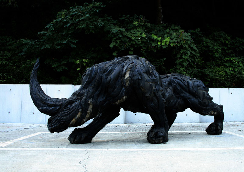 Animal Sculptures Made from Old Tires