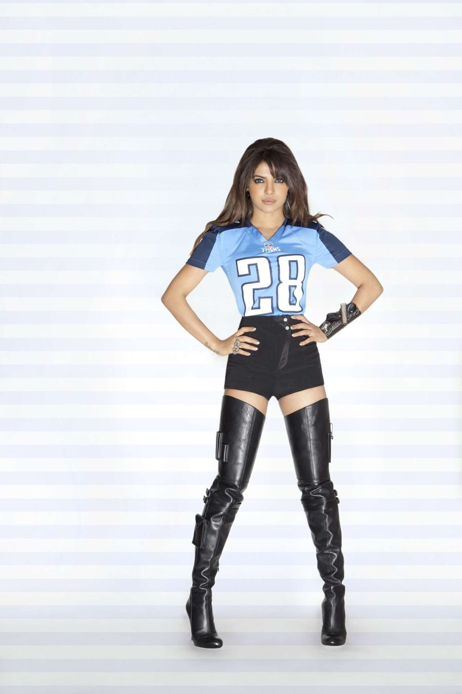 Priyanka Chopra Unveiling Legs at Photoshoot for NFL