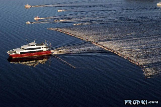 One Boat and 145 Water-Skiers