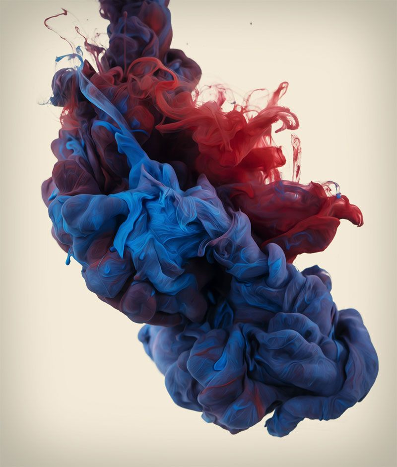 High-Speed Photographs of Ink Dropped into Water