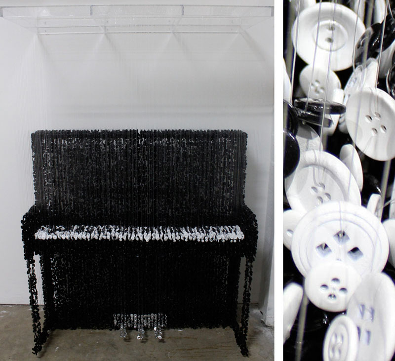 Sculptures Made from Suspended Sewing Buttons