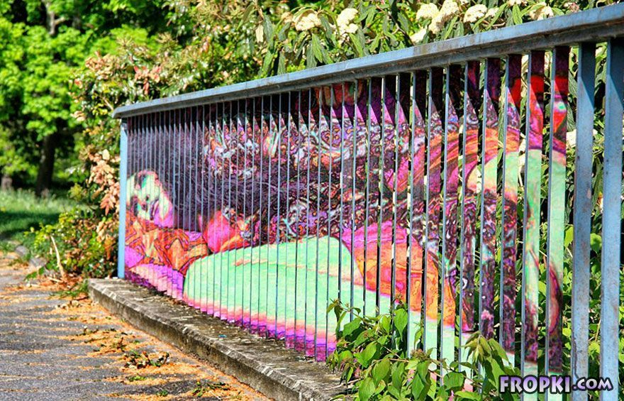 Hidden Railing Street Art Visible From Certain Angle