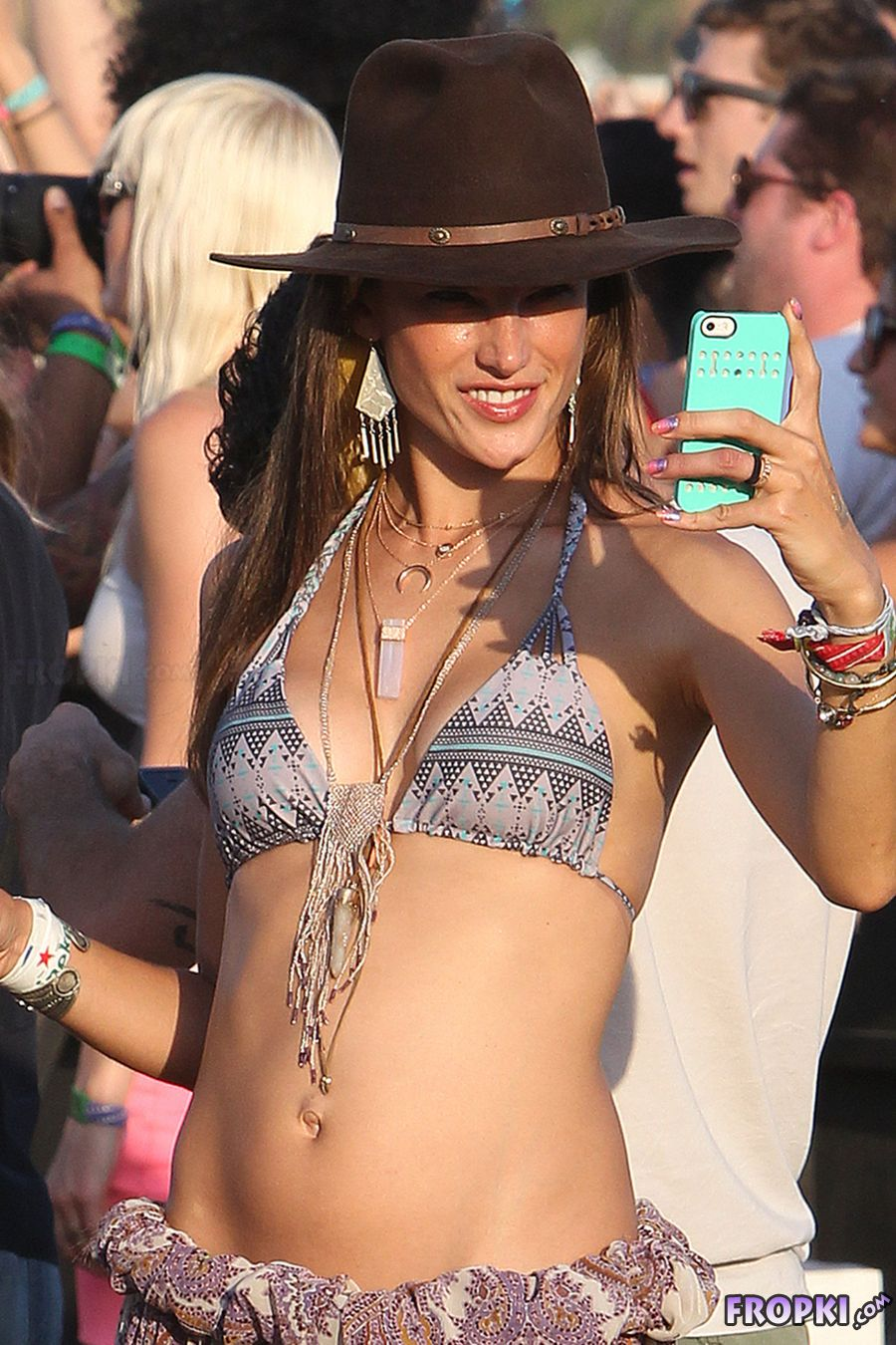 Alessandra Ambrosio in Bikini Top in Coachella
