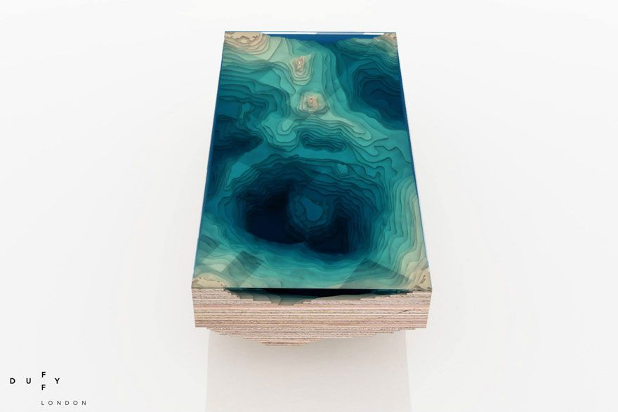 Layered Glass Table Mimics Depths Of Ocean