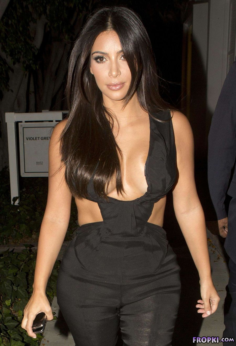 Kim Kardashian in Unique Black Dress In L.A.