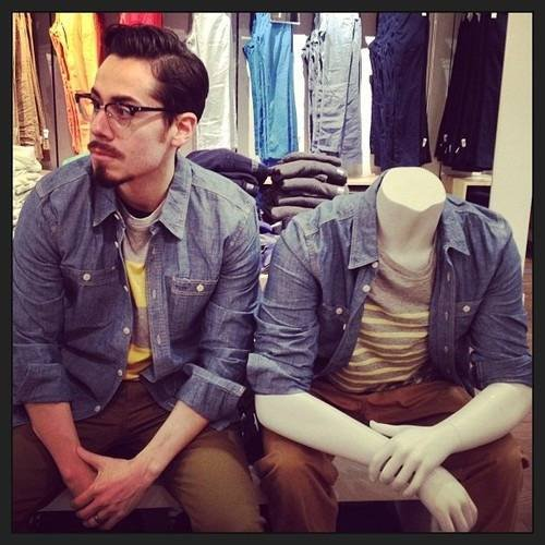 Man Becomes A Mannequin Waiting For His Wife