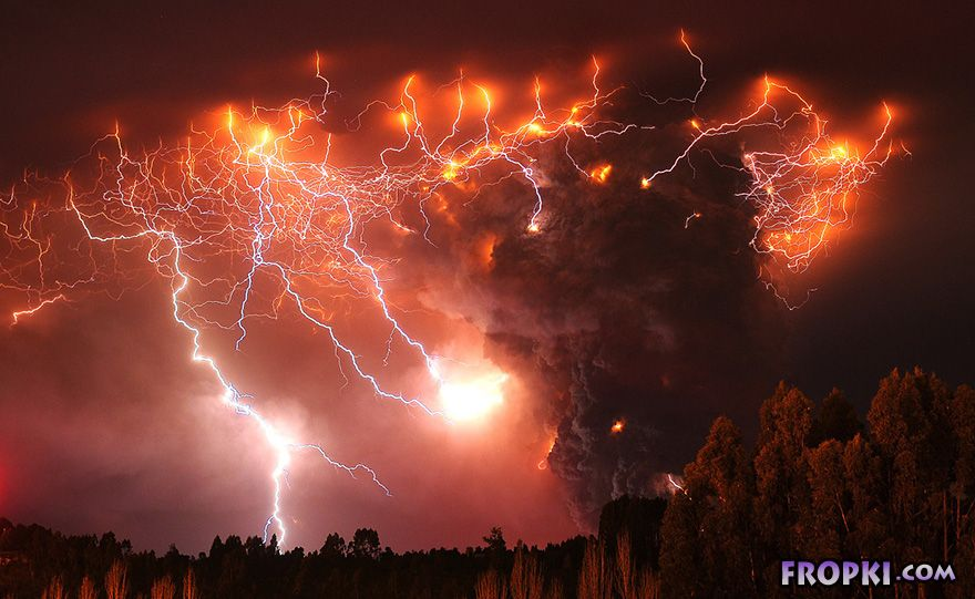 Red-Hot Magma And Flashing Lightning