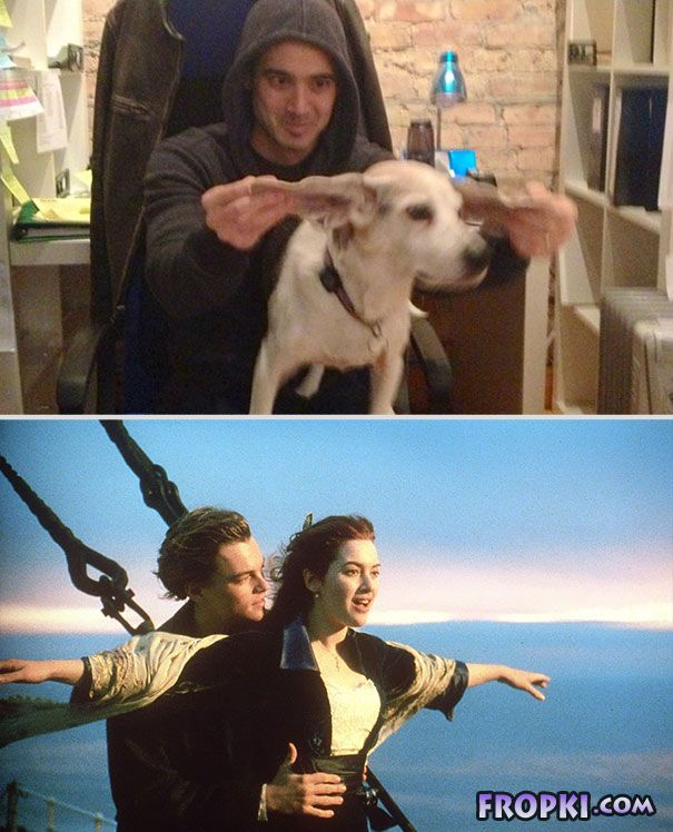 Guy Re-Enacts Famous Movie Scenes With His Dog