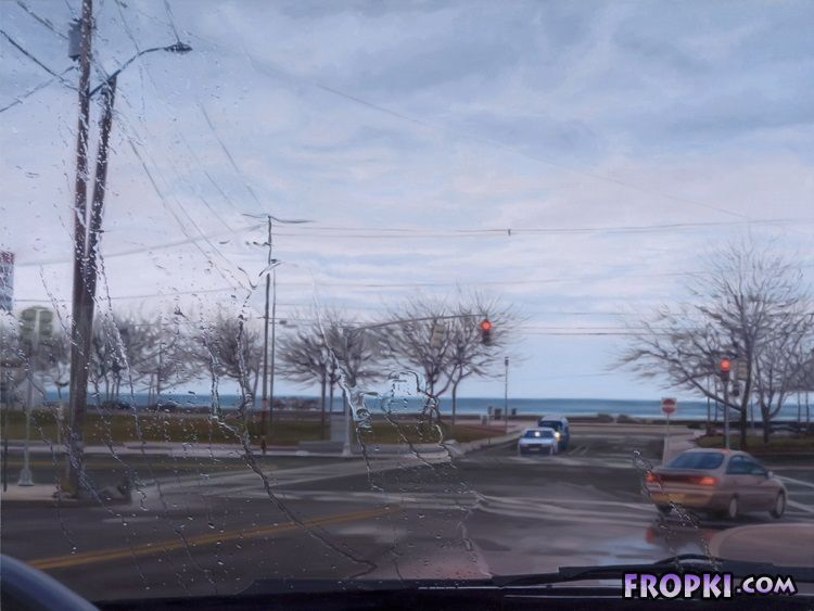 Rainy Landscape Paintings Through Car Windshields