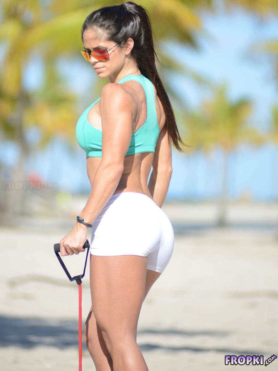 Sexy Michelle Lewin Working Out on Beach in Miami