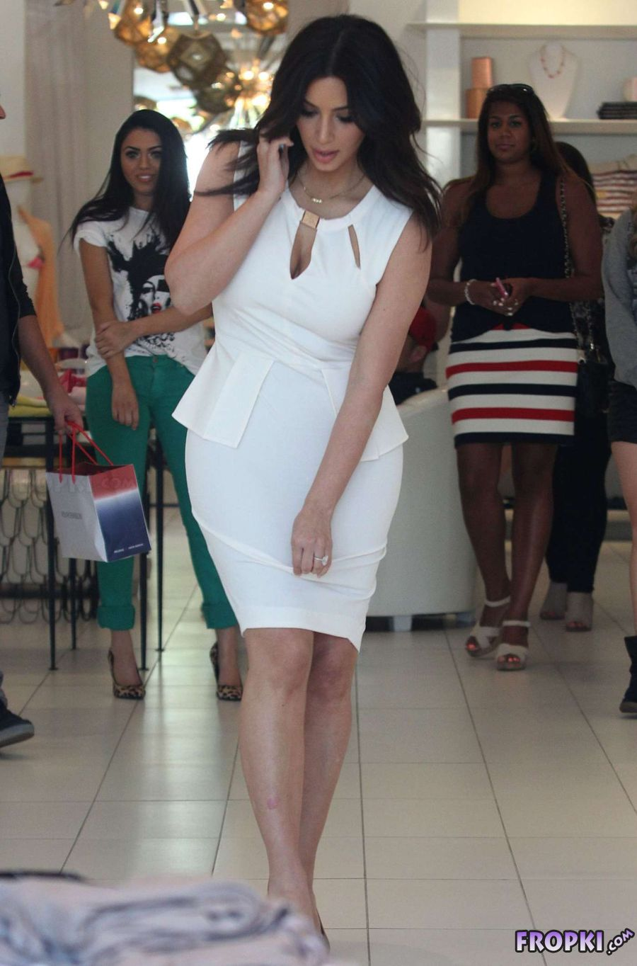 Kim Kardashian in White Dress - Shopping in L.A.