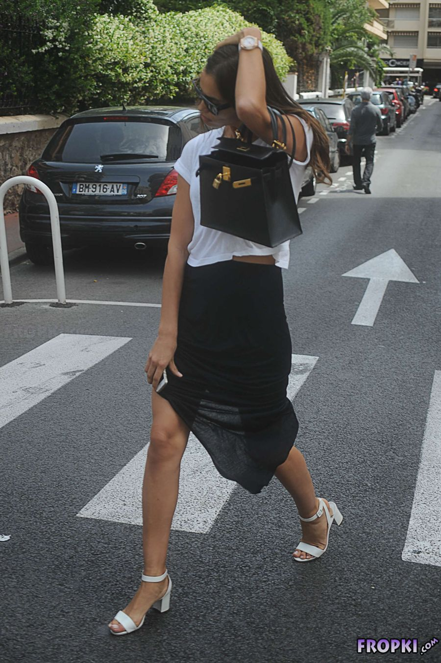 Irina Shayk Out in Cannes in Monochrome Colors