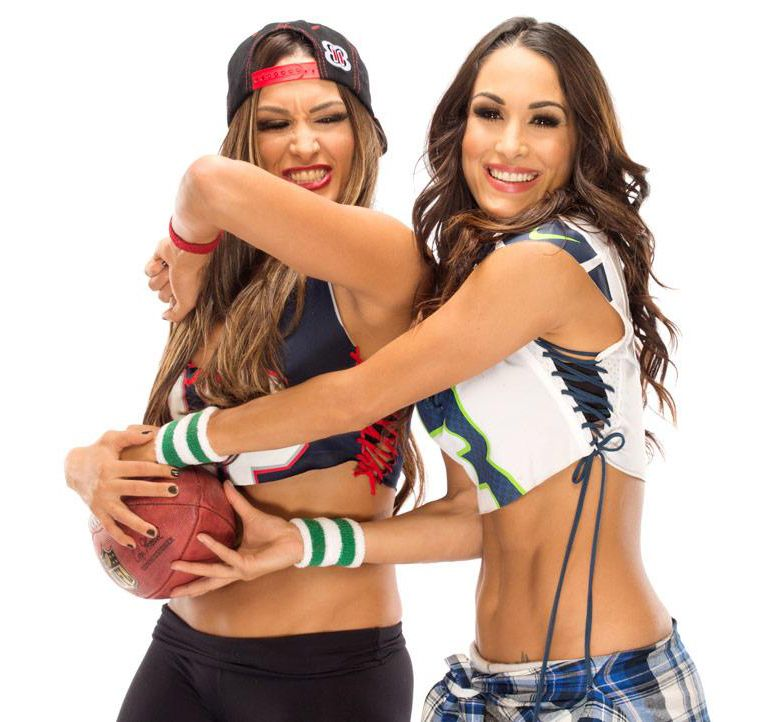Bella Twins Pose with Rugby for Bella Bowl
