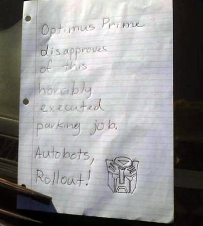 Awesomely Aggressive Windshield Notes You Should Use