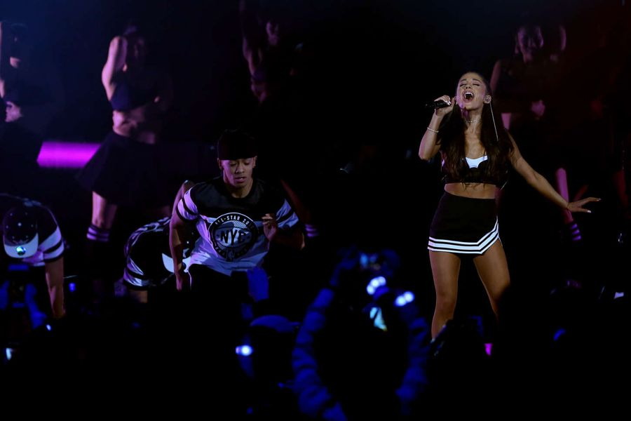 Ariana Grande Surprises Fans at NBA All-Star Opening